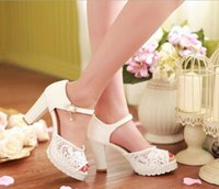 Chaussures De Mariage En Or Rose Pas Cher-2015 Vente directe White Pink Light Blue Femmes Pu Nouveau Plus Size Wedding Shoes Party Summer Femme Sandales Dentelle Fish Head Open Toe 9cm Heel