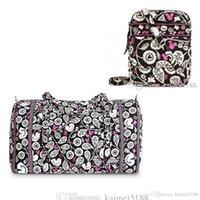 Wholesale mini cotton tote bags - Flower Cartoon Travel Cotton Duffel Bag Capacity travel bags duffel with mini crossbody