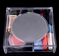 Wholesale Transparent Crystal Box Jewelry Acrylic - Fashion Square 2 space Transparent Crystal Storage Box makeup Organizer Cosmetic Acrylic Clear Jewelry Display Case with Mirror DHL 72pcs