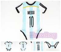 Wholesale Boys Jumpers - Free shipment cotton 2017 Bebe New style Argentina classic baby soccer jumper#10Messi baby boys&girls romper color bule baby onesie romper