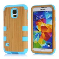 Wholesale Defender Case 4g - For Iphone 4 4S 4G 5 5S 6 6S Plus Samsung Galaxy S5 I9600 Wood Hybrid Hard Rugged Defender Case Soft silicone Rubber Wooden Skin Cover 10pcs