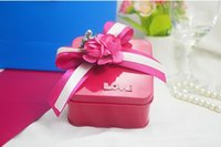 Wholesale Hot Pink Box Favor - 30pcs lot Hot Pink Suqare Candy Boxes Wedding And Party Tin Box Favor Holders Size 6 x 6 x 3.8 CM