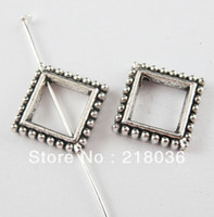 Wholesale Tibetan Square Spacer Beads - Vintage 100Pcs Tibetan Silver Square Dots Charms Spacer Beads Frame Charm For DIY Jewelry Necklace Bracelet Handcraft A1367