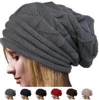 Wholesale Korea Fashion Street Wholesale - Women fashion loose wool cap Korea Women Chic Baggy Beanie Slouchy weave Knit Ski Hat Skull Cap Warm colors