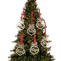 ingrosso artigianato decorativo di natale-Addobbi natalizi in legno Decorazioni natalizie in legno FAI DA TE Handmad Lettera in legno Cuore Festa di nozze Regali