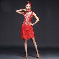 Wholesale Dance Competition Outfits - Tassels Women Competition Salsa Latin Dance Clothes Sequins Costume Set Outfits Fringe Salsa Dresses Latin Ballroom Dance Outfits