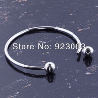 Wholesale Bracelet Screw Ends - Wholesale-10pcs Lot Fashion 65mm Shiny Silver Plated Charms Bracelets Fit European Bead, Ending Screw Balls Off To Put Beads On DIY Bangle