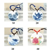 Wholesale china ceramic factory - Fashion Jewelry White And Blue Porcelain Ceramic Necklace For Women Floral Chinese Art Handmade Ethnic Necklace Factory price +Fast shipment