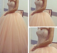 Wholesale Chocolate Colored Dresses - 2016 Long Ball Gowns Sweetheart Sleeveless Beaded Quinceanera Dresses Champagne Colored Formal Evening Gowns