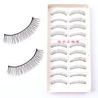 Wholesale Eye Lashes 217 - 217 Taiwan Handmade False Eyelash Eyelashes Natural Cotton Stalk Cross Ten Pairs of Nude Makeup False Eye Lashes