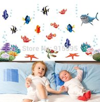 Wholesale Under Sea Wall Decals - Free Shipping:Finding Nemo Under Sea Shark Fish 3D Cartoon Waterproof Vinyl Wall Decals Stickers Bathroom Wall Decor Kids Gift