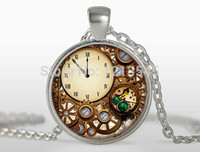 Wholesale Copper Clocks - New Fashion Steampunk clock glass dome pendant necklaces charms personality mechanical watches Pendant Choker Necklaces Jewelry FTC-N329