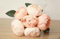 Wholesale Blue Pink Peony - Wedding Favors Wedding Bouquet Sweetheart Silk Flower Bride Holding Artificial Flowers Bouquet Artificial Peony Silk Flowers Weddings SP03