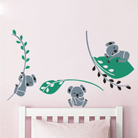 Wholesale Leaves Branches Wall Art - Three Koala Tree Leaves Branch Wall Decals Wall Sticker Nursery Vinyls Baby Wall Stickers Wall Art For Kids Room Decor