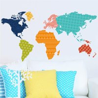 Wholesale World Map Wall Art Decals - colorful plates world map wall stickers diy office living room bedroom home decorations creative pvc decal mural art zooyoo036