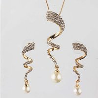 Wholesale China Gold Necklace Designs - One set Free shipping Women's 18k Gold Filled Austrian Crystal unique design Chain Necklace Earrings Jewelry Sets women gifts