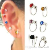 Wholesale Pin Nose - Colorful 12 Pairs Clip On U Body Crystal Earrings Nose Lip Ring Ear Cuff Stud Pin Free Shipping