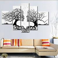 siyah beyaz yağ sanatı toptan satış-100% El yapımı promosyon siyah beyaz ağacı TUVAL BOYAMA Soyut öpücük sanat EV DEKOR Tuval Üzerine Yağlıboya 5 adet çerçevesiz