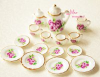 All'ingrosso-Libero! Lotto di 15 Rosa Rosa porcellana Dollhouse miniatura caffè Tea Cup Set DC133