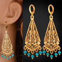 Wholesale long turquoise earrings - Bohemian Turquoise Tassel Long Earrings 18K Real Gold Platinum Plated Summer Jewelry Romantic Gift For Women MGC E1157