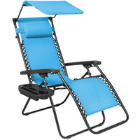 Wholesale Folding Zero Gravity Lounge Chair W Canopy Magazine Cup Holder Light Blue
