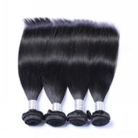 remy insan ipek düz saç toptan satış-Brezilyalı Bakire Düz Saç Demetleri 3/4 parça Çok Işlenmemiş Perulu Hint Malezya Kamboçyalı Remy Ipek Düz İnsan Saç Örgüleri