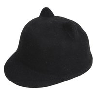 Wholesale Devil Horn Cat Ears Hat - Wholesale-2015 New Fashion Wool Women's Sun Hat Winter Mickey Cat ear animal equestrian panda ears fedora Cap with Devil Horns Ear