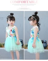 Wholesale Girl Formal Dance Party - Girls floral tutu dress summer Children baby kids tulle wholesale clothes dance wedding party 4BB406DS-93 Eleven Story
