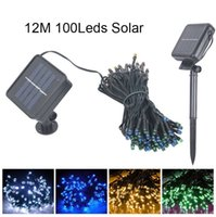 ingrosso luci a energia solare verde-Solar Power String Rosso Verde Blu Bianco Colori Lights String Garland 100LEDs Garden Natale Halloween Christmas Party String Fairy Lamps