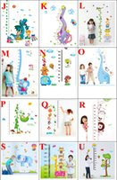Wholesale Giraffe Measure Cartoon - Wall Stickers for Height Measure Giraffe Elephant Kids Growth Chart Sticker For Kids Rooms   DIY Home Decoration Animal Tree Sticker 60*90cm