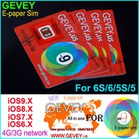 Wholesale Gevey Iphone 4s Cdma - Gevey Sim Card New E-paper Sim unlock for iOS 5 6 7 8 9 Gevey.US unlocking for iPhone 4s 5s 6 6plus 6S WCDMA CDMA GSM 4G 3G