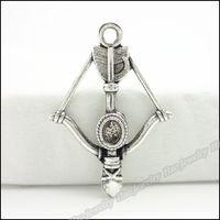 Wholesale Crossbow Charms - 80pcs Vintage Charms Crossbow Pendant Tibetan silver Zinc Alloy Fit Bracelet Necklace DIY Metal Jewelry Findings
