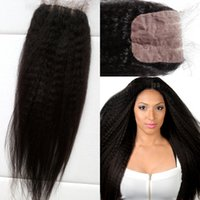 Wholesale Tangle Free Kinky Straight Hair - Cheap kinky straight Malaysian hair silk base top closure 4x4 with baby hair dyeable no shedding no tangle G-EASY hair closures