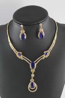 ingrosso set di gioielli africani-2015 nuova collana di moda set costume africano set di gioielli in oro 18k placcato da sposa cristallo austriaco strass