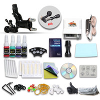 Wholesale Dragonfly Gun Kit - Complete Tattoo Kits 1 Guns Dragonfly Rotary Machine 4 Colors Inks Sets 10 Pieces Disposable Needle LED Power Supply DIY-285DIY-1