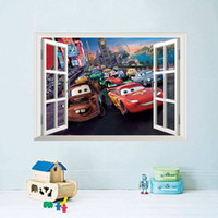 Wholesale Sticker Light For Car Window - Cars Wall Stickers Kids Bed Play Room Decoration DIY 3D Cartoon Film Fantastic Window Home Decal Nursery Kids Mural Art Movie free shipping