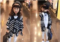 Wholesale Wool Blend V Neck Children - New Hot Sale Children Girls V-Neck Shirts Girl Clothes Kintted Cardigan Kids Clothing Child Geometrical Pattern Poncho Shawl Girl Outwear