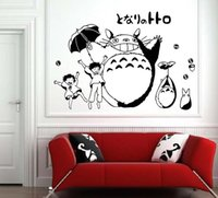 Wholesale Anime Wall Sticker - Anime Cartoon Totoro Children's Room or Baby Nursery Children Wall Paper Sticker Wall Sticker Decal Home Decor For Anime Fans