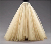 tül katmanlı etek yap toptan satış-Uzun Etekler Bir Çizgi Katmanlı Tül Tutu Etekler Kat Uzunluk Custom Made Boyut Artı Boyutu Parti Balo Yetişkin Aşınma Bahar Sonbahar Ucuz Elbise