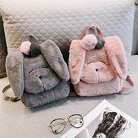 Wholesale Girls Princess Backpack - Children Cute Dog Big Ears Backpack Kids Girls Rabbit Fur Double Shoulder Bag Woman Backpack 2018 Infant Princess Shool Bag Accessories D210