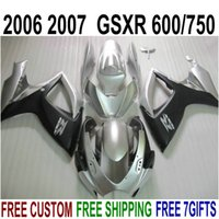 Wholesale Gsx R Matte Black K6 - 7 free gifts fairing kit for SUZUKI GSXR600 GSXR750 06 07 K6 matte black silver fairings set GSX-R 600 750 2006 2007 V44F