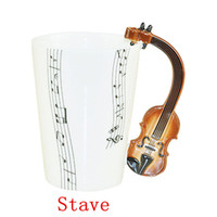 Wholesale Coffee Cup Wholesale China - Free Shipping 48 pcs lot New Creative Violin Music Mug Ceramic Mug Coffee Cup novelty gift