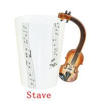 ingrosso porcellana di musica doni-Il trasporto libero 48 pc / lotto Nuova tazza creativa di musica del violino tazza di ceramica tazza di caffè / regalo della novità