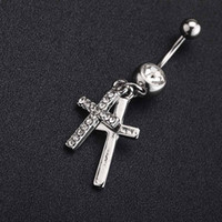 Wholesale Cross Eyebrow Ring - Hot Sale 2015 Fashion NEW 316L Surgical Steel Double Cross Rhinestone Dangle Belly Button Navel Ring Bar Piercing Jewelry Gift f