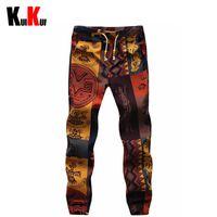 patrones de pantalones de lino al por mayor-Al por mayor-Hombre Patrón Floral de algodón y lino Hip-Hop Pantalones casuales Hombres Baggy Skinny Joggers Harem Pants Skateboard Pantalones Pantalones 5XL