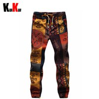 baggy skinny sweatpants toptan satış-Toptan-Adam Çiçek Desen Pamuk Ve Keten Hip-Hop Rahat Pantolon Erkekler Baggy Sıska Joggers Harem Pantolon Kaykay Sweatpants Pantolon 5XL