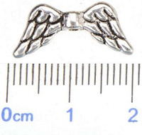 Wholesale religious free - Jewelry Findings Angel Wings Beads For Beading Bracelets DIY Craft Flat Antique Silver Metal Free Ship Fashion Wholesales 8*18*2mm 400pcs