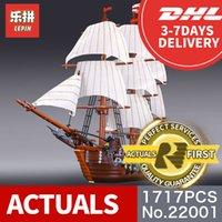Wholesale Warship Toys - NEW LEPIN 22001 Pirate Ship warships Model Building Kits Block Briks Boy Educational Toys Model Gift 1717pcs Compatible 10210