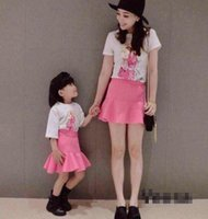 Wholesale Pretty Chinese Girls - Summer New Style Baby Girls Mother Pretty T-Shirts +Pink Skirt 2 pieces 5s l free shipping