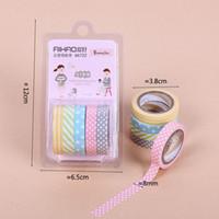 ingrosso punti di nastro-5PCS / Pack Nastro adesivo Washi a strisce arcobaleno a strisce colorate Nastro adesivo decorativo di carta a colori decorativi